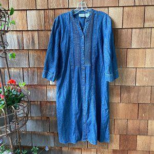 EUC Vermont Country Store Pintuck Denim Dress - LG